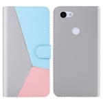 For Google Pixel 3a Tricolor Stitching Horizontal Flip TPU + PU Leather Case with Holder & Card Slots & Wallet(Grey)