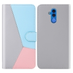 For Huawei Mate 20 Lite Tricolor Stitching Horizontal Flip TPU + PU Leather Case with Holder & Card Slots & Wallet(Grey)