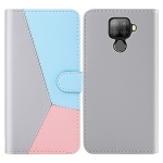 For Huawei Mate 30 Lite Tricolor Stitching Horizontal Flip TPU + PU Leather Case with Holder & Card Slots & Wallet(Grey)