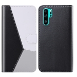 For Huawei P30 Pro Tricolor Stitching Horizontal Flip TPU + PU Leather Case with Holder & Card Slots & Wallet(Black)