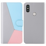 For Xiaomi Redmi Note 5 Pro Tricolor Stitching Horizontal Flip TPU + PU Leather Case with Holder & Card Slots & Wallet(Grey)
