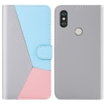 For Xiaomi Redmi Note 6 Pro Tricolor Stitching Horizontal Flip TPU + PU Leather Case with Holder & Card Slots & Wallet(Grey)