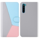 For Xiaomi Redmi Note 8 Tricolor Stitching Horizontal Flip TPU + PU Leather Case with Holder & Card Slots & Wallet(Grey)