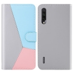 For Xiaomi Mi A3 Lite / Mi CC9 Tricolor Stitching Horizontal Flip TPU + PU Leather Case with Holder & Card Slots & Wallet(Grey)