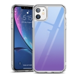 For iPhone 11 ESR Ice Shield Series Soft Silicone Frame + Glass Back Protective Case(Blue Purple)