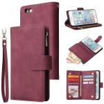 For iPhone 6 & 6s Multifunctional Retro Frosted Horizontal Flip Leather Case with Card Slot & Holder & Zipper Wallet & Photo Frame & Lanyard(Red Wine)
