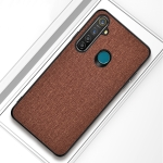 For OPPO Realme 5 Pro Shockproof Cloth Texture PC+ TPU Protective Case(Brown)