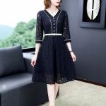 V-neck Solid Color Waist Long Lace Dress, Size:M(Blue)