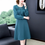 Stitching Beaded Long Sleeve Slim Dress, Size:L(Dark Green)