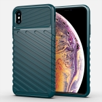 For iPhone XS Max Thunderbolt Shockproof TPU Soft Case(Dark Green)