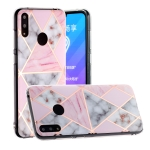 For Huawei Y7 (2019) Hot Stamping Geometric Marble IMD Craft TPU Protective Case(Rhombus)