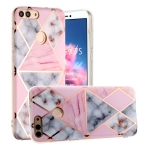 For Huawei P Smart (Enjoy 7S) Hot Stamping Geometric Marble IMD Craft TPU Protective Case(Rhombus)