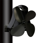 YL-105 4-Blade Aluminum Heat Powered Fireplace Stove Fan (Black)