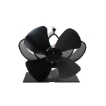 YL201 4-Blade High Temperature Metal Heat Powered Fireplace Stove Fan (Black)
