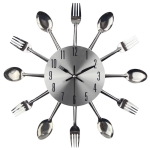Cutlery Metal Kitchen Wall Clock Spoon Fork Creative Quartz Wall Mounted Clocks Modern Design Decorative Horloge, Silver