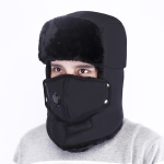 Outdoor Anti-smog Cycling Cap Thick Warm Ear Protection Windproof Hat (Black)