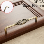3 PCS 6098-160 Classic Birdcage Shape Iron Cabinet Wardrobe Drawer Door Handle, Hole Spacing: 160mm (Bronze)