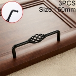 3 PCS 6098-160 Classic Birdcage Shape Iron Cabinet Wardrobe Drawer Door Handle, Hole Spacing: 160mm (Matte Black)