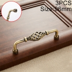 3 PCS 6099-96 Classic Birdcage Shape Iron Cabinet Wardrobe Drawer Door Handle, Hole Spacing: 96mm (Bronze)