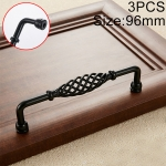 3 PCS 6099-96 Classic Birdcage Shape Iron Cabinet Wardrobe Drawer Door Handle, Hole Spacing: 96mm (Matte Black)