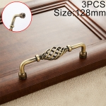 3 PCS 6099-128 Classic Birdcage Shape Iron Cabinet Wardrobe Drawer Door Handle, Hole Spacing: 128mm (Bronze)