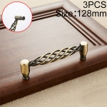 3 PCS 6101-128 Classic Birdcage Shape Iron Cabinet Wardrobe Drawer Door Handle, Hole Spacing: 128mm (Bronze)