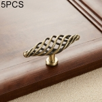 5 PCS 6105 Single Hole Classic Birdcage Shape Iron Cabinet Wardrobe Drawer Door Handle (Bronze)