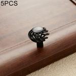 5 PCS 6109 Single Hole Classic Birdcage Shape Iron Cabinet Wardrobe Drawer Door Handle (Matte Black)