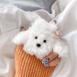 Teddy Dog Plush Knitted Cute Cartoon Protective Case for Apple AirPods 1/2 (White)