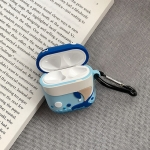For Airpods Cartoon Blue Big Mouth Whale Shape Earphone Silicone Protective Case with Anti-lost Buckle