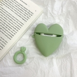 For Airpods Love-heart Shape Earphone Silicone Protective Case with Lanyard (Green)