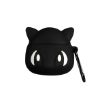 For Airpods Cartoon Lightning Elf Shape Earphone Silicone Protective Case with Anti-drop Buckle (Black)