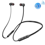 Bluetooth 5.0 Neck-mounted Wire-controlled Bluetooth Sports Earphone with Magnetic Adsorption Function(Black)