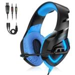 ONIKUMA K1-B Adjustable Wireless PC Gaming Headphone with Microphone (Black Blue)