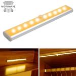 2W 10 LEDs Warm White Light Wide Screen Intelligent Human Body Sensor Light LED Corridor Cabinet Light, Battery Version