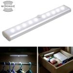2W 10 LEDs White Light Wide Screen Intelligent Human Body Sensor Light LED Corridor Cabinet Light, Battery Version