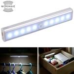 1.8W 10 LEDs White Light Wide Screen Intelligent Human Body Sensor Light LED Corridor Cabinet Light, Battery Version