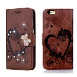 For iPhone 6 / 6S Embossed Heart Butterfly Pattern Diamond Encrusted Leather Case with Holder & Card Slots(Brown)