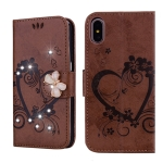 For  iPhone XR Embossed Heart Butterfly Pattern Diamond Encrusted Leather Case with Holder & Card Slots(Brown)