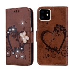 For  iPhone 11 Pro Max Embossed Heart Butterfly Pattern Diamond Encrusted Leather Case with Holder & Card Slots(Brown)