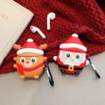 For Apple AirPods 1/2 Gen Universal Santa Claus and Santa Deer Bluetooth Headphone Protective Case(Brown)