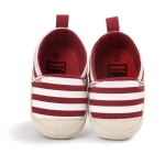Baby Boy Striped Shoes Lovely Infant First Walkers Soft Sole Toddler Shoes, Shoe Size:12cm(Red)