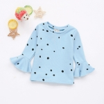 Spring and Autumn Wave Point Trumpet Sleeve Sweater Girls Clothes, Height:80cm(Lake Blue)