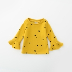 Spring and Autumn Wave Point Trumpet Sleeve Sweater Girls Clothes, Height:92cm(Ginger Yellow)