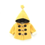 Autumn and Winter Children Thick Horn Buckle Hooded Jacket, Height:80cm(Yellow)