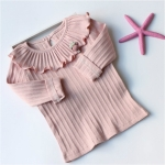 Spring Girls Long Sleeved Ruffled Collar Bottoming Shirt Solid Color Children Clothes, Height:11 Yards(Pink)