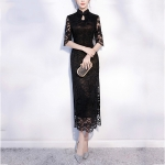 Chinese-style Bride Wedding Dress Lady Slim Long Vintage Lace Cheongsam, Size:L(Black)