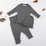 3 in 1 Winter Girl Baby Warm Bottoming Shirt + Bottoming Trousers + Hat Set, Height:100cm(Grey)