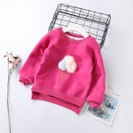 Children Baby Autumn Cartoon Stereo Hair Ball Ice Cream Casual Pullover, Height:7(90cm)(Rose Red)