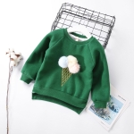 Children Baby Autumn Cartoon Stereo Hair Ball Ice Cream Casual Pullover, Height:15(130cm)(Green)